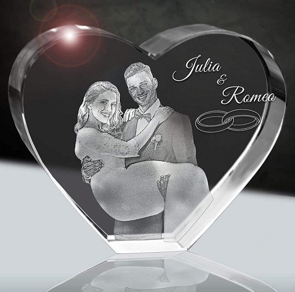 3Dglas Hochzeitsfoto im Glasherz