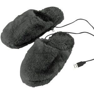 infactory Fussheizung: Deluxe-Plüsch-Pantoffeln mit USB-Wärmesohle